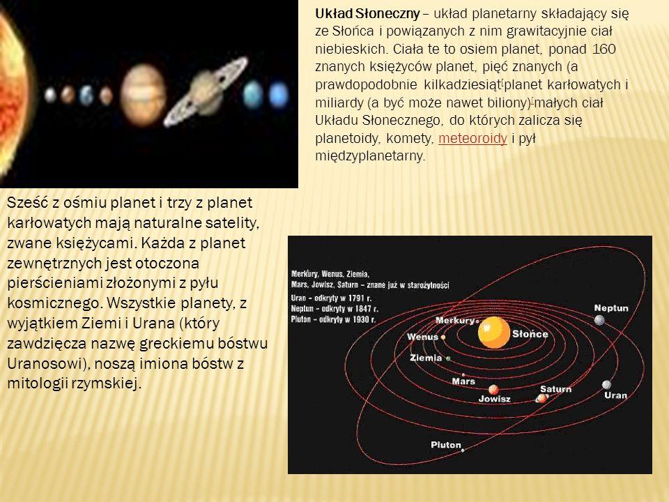 Układ Słoneczny – układ planetarny składający się ze Słońca i powiązanych z nim grawitacyjnie ciał niebieskich. Ciała te to osiem planet, ponad 160 znanych księżyców planet, pięć znanych (a prawdopodobnie kilkadziesiąt[planet karłowatych i miliardy (a być może nawet biliony)[małych ciał Układu Słonecznego, do których zalicza się planetoidy, komety, meteoroidy i pył międzyplanetarny.